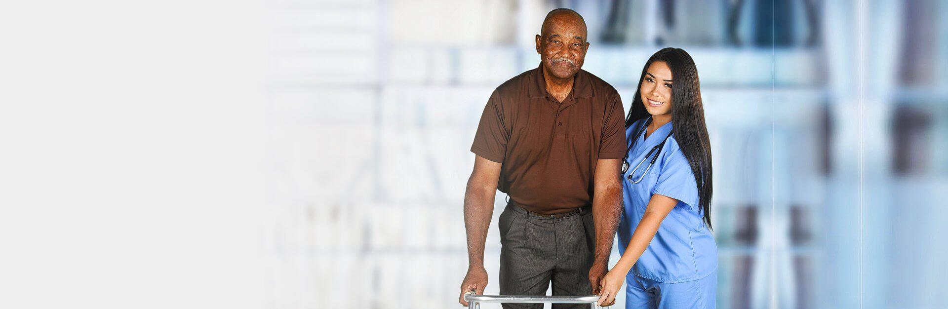 grandpa with his caregiver